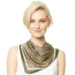 CS9136 Animal Print Square Scarf, Olive