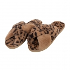 CSL001 Leopard & Solid Cross Slippers, Camel