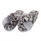 CSL001 Leopard & Solid Cross Slippers, Grey
