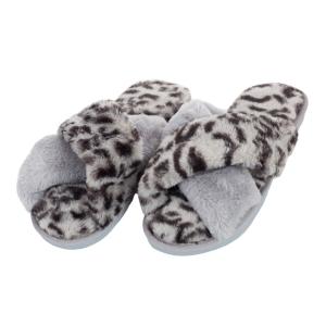 CSL001 Leopard & Solid Cross Slippers, Grey
