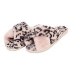 CSL001 Leopard & Solid Cross Slippers, Pink