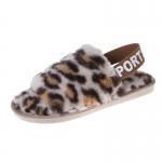 CSL002 Leopard Pattern Faux Fur Sandal Slippers, Beige