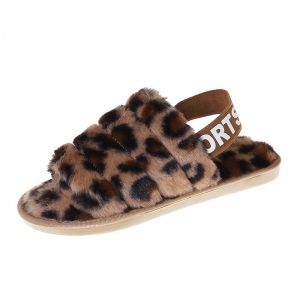 CSL002 Leopard Pattern Faux Fur Sandal Slippers, Camel