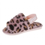 CSL002 Leopard Pattern Faux Fur Sandal Slippers, Pink