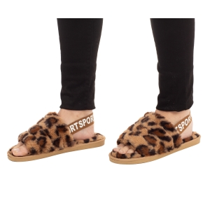 CSL002 Leopard Pattern Faux Fur Sandal Slippers
