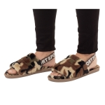 CSL003 Camouflage Faux Fur Sandal Slippers, Green