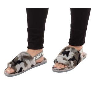 CSL003 Camouflage Faux Fur Sandal Slippers, Grey