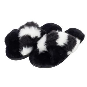 CSL004 Stripes & Solid Color Faux Fur Slippers