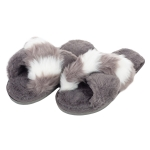 CSL004 Stripes & Solid Color Faux Fur Slippers, Grey