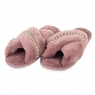 CSL005 Solid Faux Fur W/Rhinestone Line Slippers, Pink