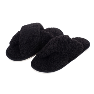 CSL006 Teddy Bear Feel Indoor Slipper, Black