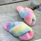 CSL007 Tie-dye Pattern Faux  Fur Slipper, Yellow