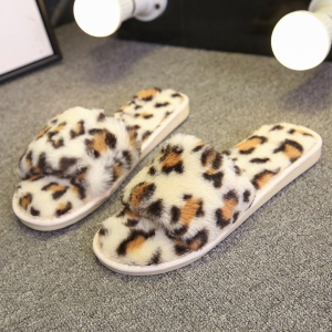 CSL008 Animal Pattern Faux  Fur Slipper, Beige