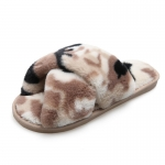 CSL010 Camouflage Pattern Faux Fur Slipper, Taupe
