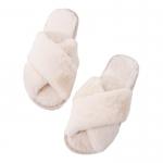CSL011 Solid Color Cross Strap Faux Fur Slipper, Ivory