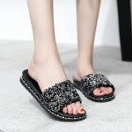 CSL105 Solid Glitter Comfy Slipper, Black