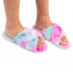 CSL1501 Tie-dye Pattern Fuzzy Cross Slippers, Blue (3 Pcs Set)