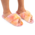 CSL1501 Tie-dye Pattern Fuzzy Cross Slippers, Pink (3Pcs Set)