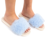 CSL1502 Solid Color Furry Stripe Slippers, Blue (3 Pcs Set)