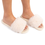 CSL1502 Solid Color Furry Stripe Slippers, Ivory  (3 Pcs Set)