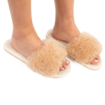 CSL1502 Solid Color Furry Stripe Slippers, Taupe (3 Pcs Set)