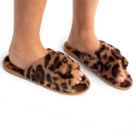 CSL1503 Leopard Pattern Cross Slippers, Camel (3Pcs Set)