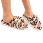 CSL1503 Leopard Pattern Cross Slippers, Ivory (3Pcs Set)