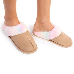 CSL1504 Sheepskin Slippers with Multi Pattern Trim, Tie-dye (3 Pcs Set)
