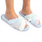 CSL1505 Double Cross Solid Color Fuzzy Slippers, Blue Multi (3Pcs Set)