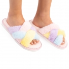CSL1505 Double Cross Solid Color Fuzzy Slippers, Pink Multi (3Pcs Set)