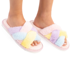 CSL1505 Double Cross Solid Color Fuzzy Slippers
