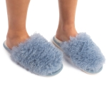 CSL1506 Crazy Hair Fuzzy Solid Color Slippers, Blue (3Pcs Set)