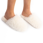 CSL1506 Crazy Hair Fuzzy Solid Color Slippers, Ivory (3Pcs Set)