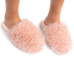 CSL1506 Crazy Hair Fuzzy Solid Color Slippers, Pink (3Pcs Set)