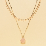 CSX-1143 Solid Beads & Charm Double Layered Necklace, RQ.OPAB