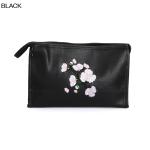 ECB1388C Cherry Blossom Embroidery Cosmetic bag, Black