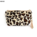 ECB1492 Furry Leopard Cosmetic Pouch, Beige
