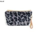 ECB1492 Furry Leopard Cosmetic Pouch, Blue