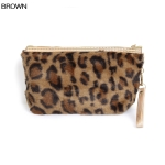 ECB1492 Furry Leopard Cosmetic Pouch, Brown