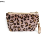 ECB1492 Furry Leopard Cosmetic Pouch, Pink