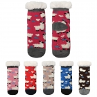 ETC-830 Lovely Sheep Pattern Lined Socks (Dozen Pack)