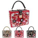 F1019 Velvet Jeweled Box Bag