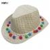 F4863 Straw Cowboy Hat W/ Pom Pom