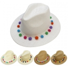 F4866 Solid Cowboy Hat W/ Pom Pom