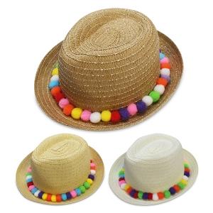 F4868 Straw Hat W/ Pom Pom