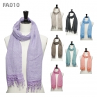 FA010 Cotton Solid With Lace Ruffle Scarf