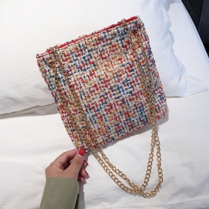 FB001 Tweed Style Tote Bag, Red