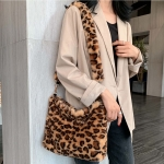 FB003 Faux Fur Cross-body or Tote Bag, Leopard