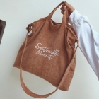 FB005 Solid Color Corduroy Tote Bag, Camel