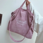FB005 Solid Color Corduroy Tote Bag, Pink